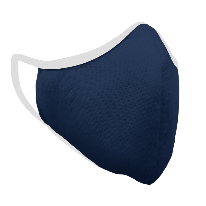Solid Navy Fitted Face Cover with White Trim