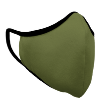 Load image into Gallery viewer, Solid Army Green Fitted Face Cover with Black Trim