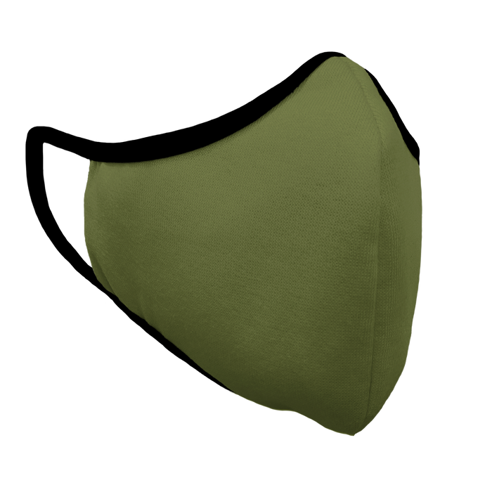 Solid Army Green Fitted Face Cover with Black Trim