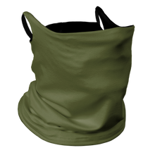 Load image into Gallery viewer, Solid Army Green Premium Fitted Neck Gaiter with Ear Support with Black Trim