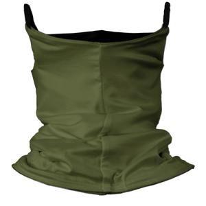 Solid Army Green Premium Fitted Neck Gaiter with Ear Support with Black Trim