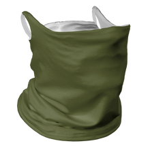 Load image into Gallery viewer, Solid Army Green Premium Fitted Neck Gaiter with Ear Support with White Trim