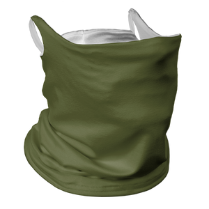 Solid Army Green Premium Fitted Neck Gaiter with Ear Support with White Trim