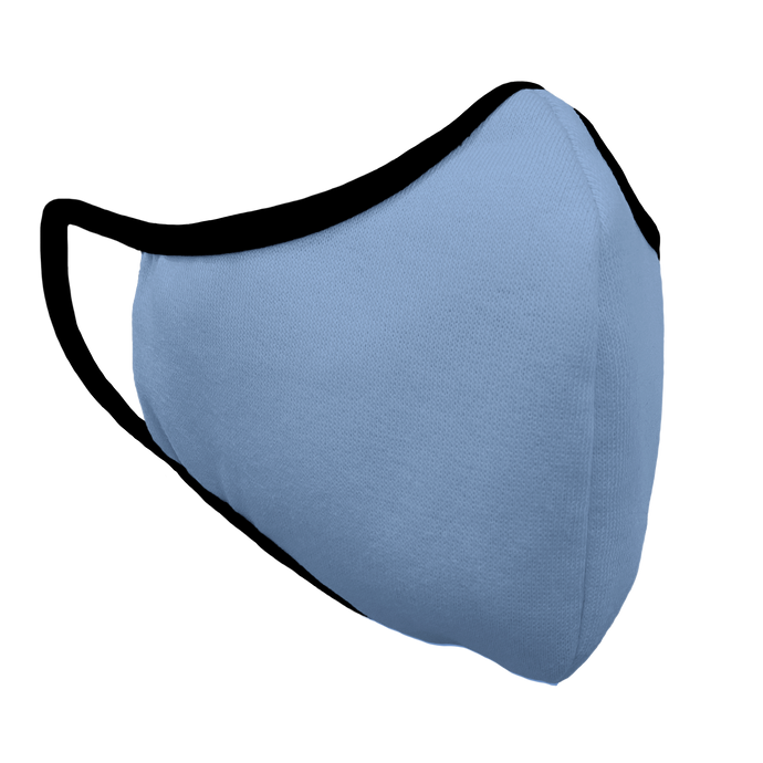Solid Baby Blue Fitted Face Cover with Black Trim