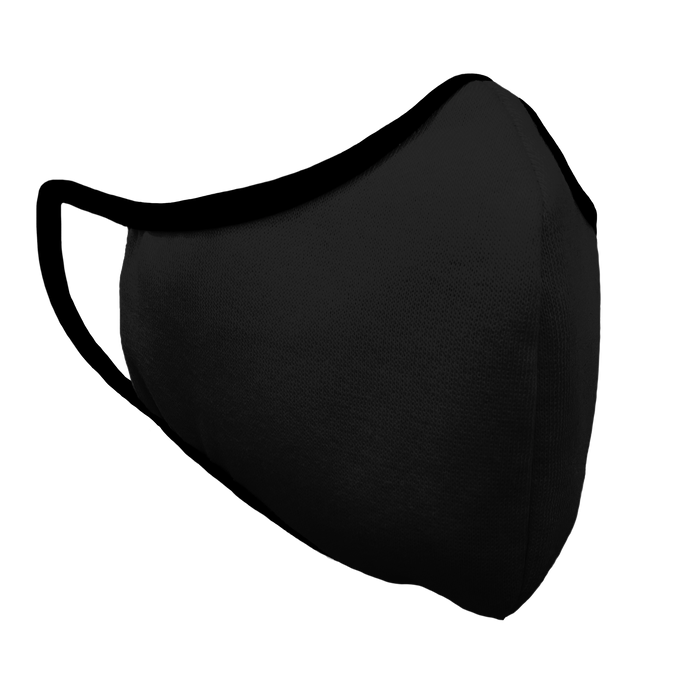 Solid Black Fitted Face Cover with Black Trim