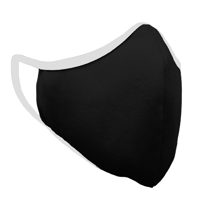Solid Black Premium Fitted Face Cover with White Trim