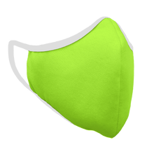 Load image into Gallery viewer, Solid Bright Green Premium Fitted Face Cover with White Trim