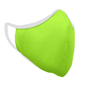 Solid Bright Green Premium Fitted Face Cover with White Trim