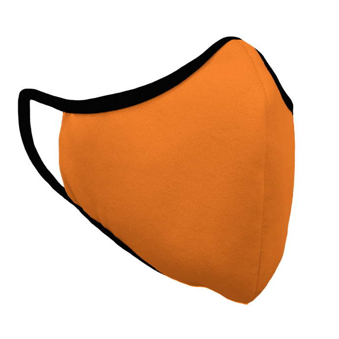Solid Bright Orange Premium Fitted Face Cover with Black Trim