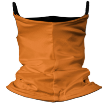 Load image into Gallery viewer, Solid Bright Orange Premium Fitted Neck Gaiter with Ear Support with Black Trim