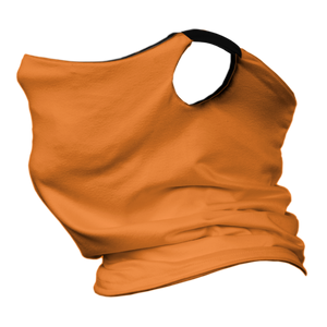 Solid Bright Orange Premium Fitted Neck Gaiter with Ear Support with Black Trim