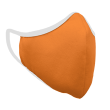 Load image into Gallery viewer, Solid Bright Orange Premium Fitted Face Cover with White Trim