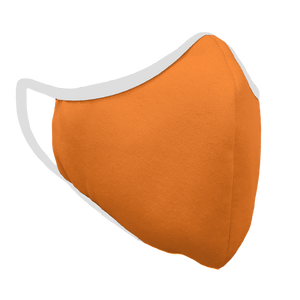Solid Bright Orange Premium Fitted Face Cover with White Trim