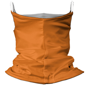 Solid Bright Orange Premium Fitted Neck Gaiter with Ear Support with White Trim