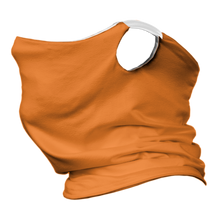 Load image into Gallery viewer, Solid Bright Orange Premium Fitted Neck Gaiter with Ear Support with White Trim