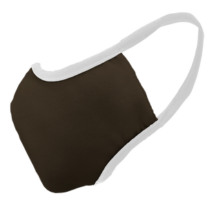 Solid Chocolate Premium Fitted Face Cover with White Trim