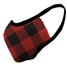 Load image into Gallery viewer, Red Buffalo Plaid Premium Fitted Face Cover