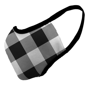 White Buffalo Plaid Premium Fitted Face Cover