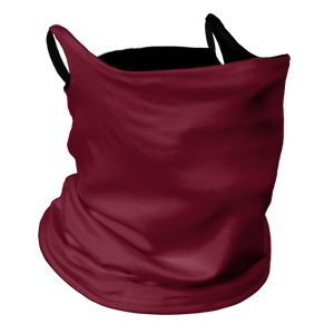 Solid Cardinal Premium Fitted Neck Gaiter with Ear Support with Black Trim