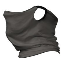 Load image into Gallery viewer, Solid Charcoal Premium Fitted Neck Gaiter with Ear Support with Black Trim