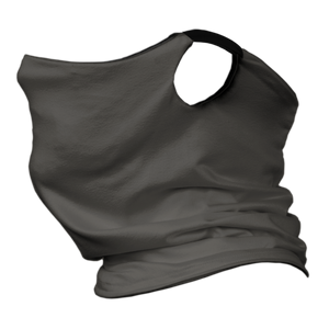 Solid Charcoal Premium Fitted Neck Gaiter with Ear Support with Black Trim