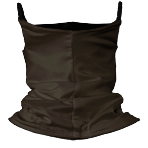 Solid Chocolate Premium Fitted Neck Gaiter with Ear Support with Black Trim