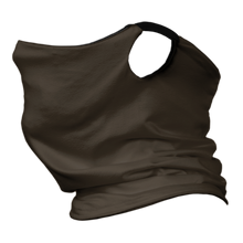 Load image into Gallery viewer, Solid Chocolate Premium Fitted Neck Gaiter with Ear Support with Black Trim