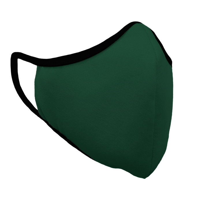 Solid Forest Green Premium Fitted Face Cover with Black Trim