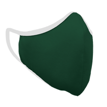 Load image into Gallery viewer, Solid Forest Green Fitted Face Cover with White Trim