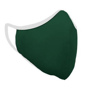 Solid Forest Green Fitted Face Cover with White Trim