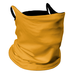 Solid Golden Yellow Premium Fitted Neck Gaiter with Ear Support with Black Trim