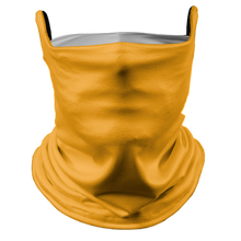 Load image into Gallery viewer, Solid Golden Yellow Premium Fitted Neck Gaiter with Ear Support with White Trim