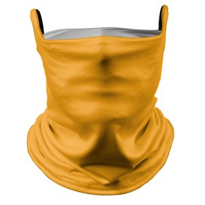 Solid Golden Yellow Premium Fitted Neck Gaiter with Ear Support with White Trim