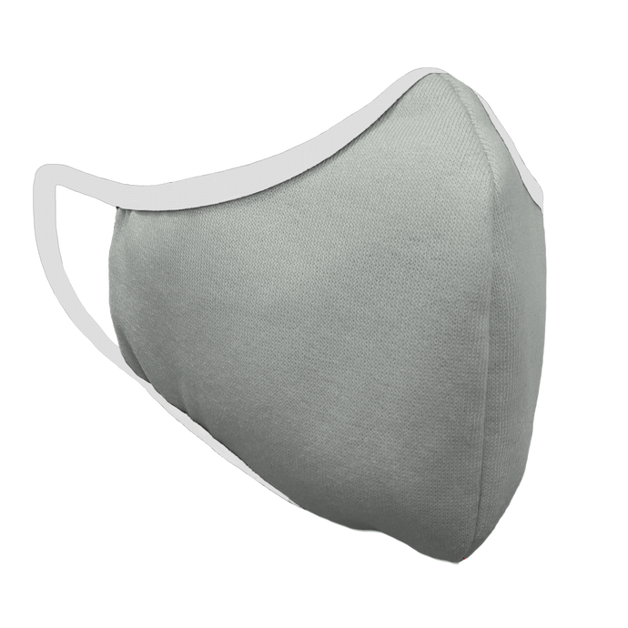 Solid Grey Fitted Face Cover with White Trim