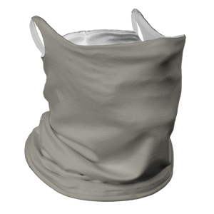 Solid Grey Premium Fitted Neck Gaiter with Ear Support with White Trim