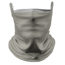 Load image into Gallery viewer, Solid Grey Premium Fitted Neck Gaiter with Ear Support with White Trim