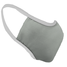 Load image into Gallery viewer, Solid Grey Fitted Face Cover with White Trim