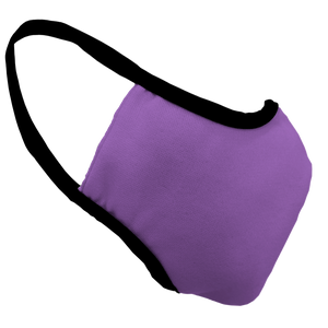 Solid Lavender Fitted Face Cover with Black Trim