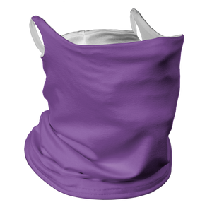 Solid Lavender Premium Fitted Neck Gaiter with Ear Support with White Trim