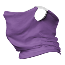 Load image into Gallery viewer, Solid Lavender Premium Fitted Neck Gaiter with Ear Support with White Trim
