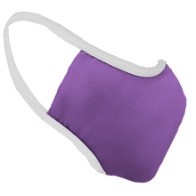 Load image into Gallery viewer, Solid Lavender Premium Fitted Face Cover with White Trim
