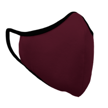 Load image into Gallery viewer, Solid Maroon Premium Fitted Face Cover with Black Trim