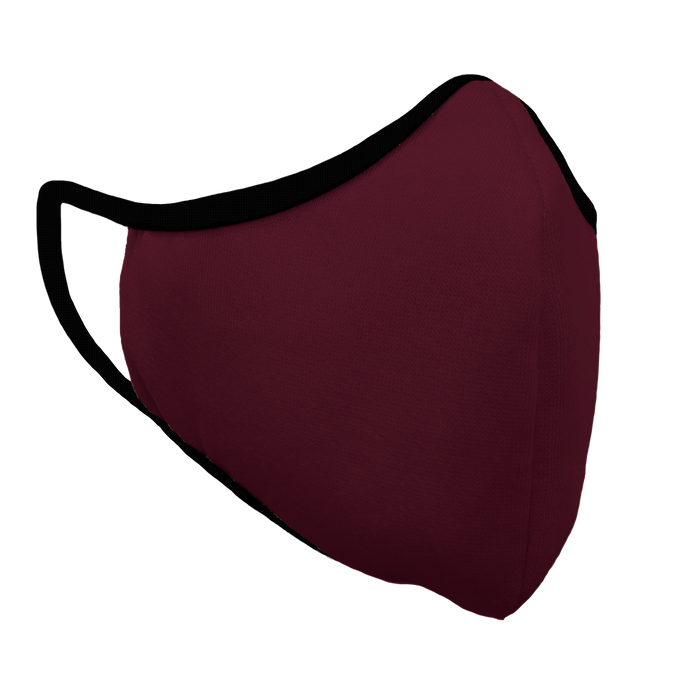 Solid Maroon Premium Fitted Face Cover with Black Trim