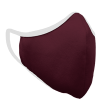Load image into Gallery viewer, Solid Maroon Fitted Face Cover with White Trim
