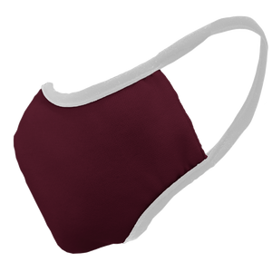 Solid Maroon Fitted Face Cover with White Trim