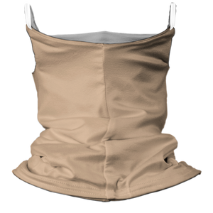 Solid Nude Premium Fitted Neck Gaiter with Ear Support with White Trim