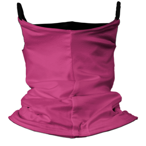 Solid Pink Premium Fitted Neck Gaiter with Ear Support with Black Trim