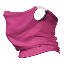 Load image into Gallery viewer, Solid Pink Premium Fitted Neck Gaiter with Ear Support with White Trim