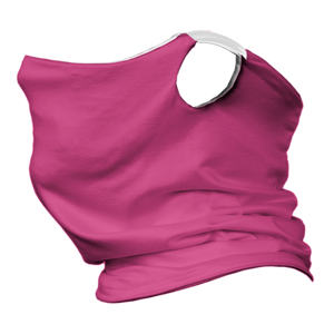 Solid Pink Premium Fitted Neck Gaiter with Ear Support with White Trim