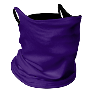 Solid Purple Premium Fitted Neck Gaiter with Ear Support with Black Trim